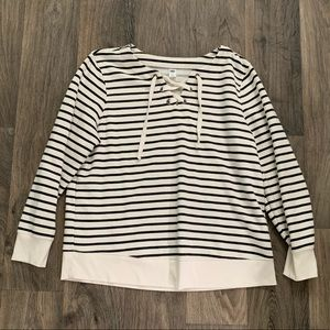 Old Navy Striped Lace-up Sweatshirt